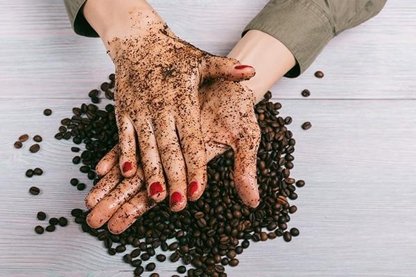 Coffee and coconut oil scrub