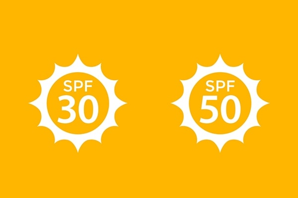SPF factor that ranges between 30 and 50