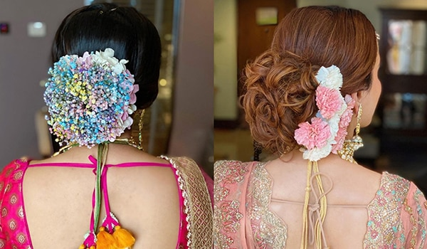 5 colourful floral bun hairstyles for brides-to-be