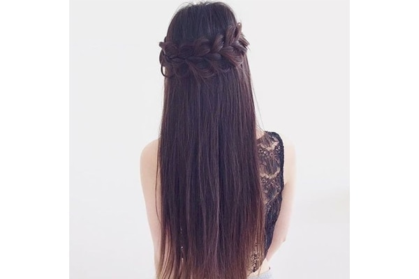 Half up crown braids