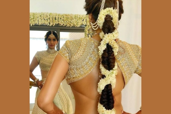 Fishtail braid with mogra