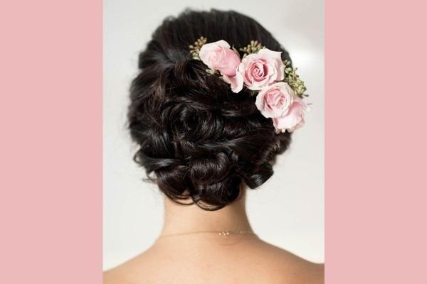 Bridal bun with roses