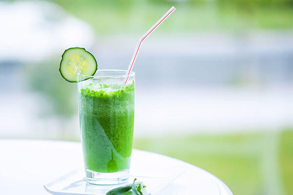 Cucumber, ginger and mint juice