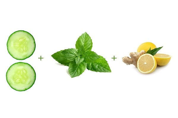 Cool ginger mint lime detox water
