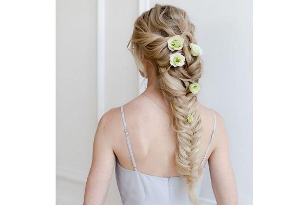 Fishtail Braid accessorized with Jasmine flowers