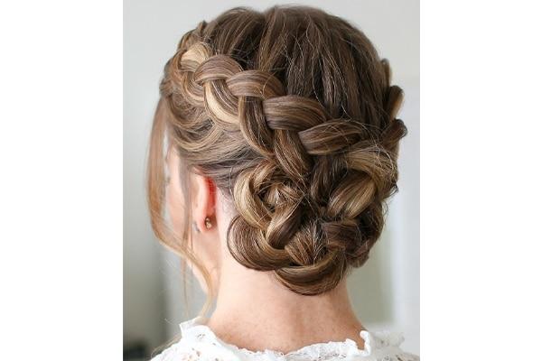 Dutch braided bun wedding hairstyles