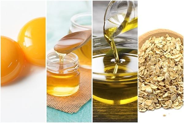 Egg yolk + honey + olive oil + oatmeal
