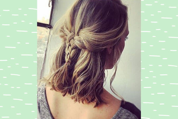 Half up half down braid hairstyle for short hair