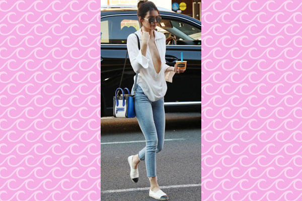Kendall Jenner white blouse with skinny jeans look