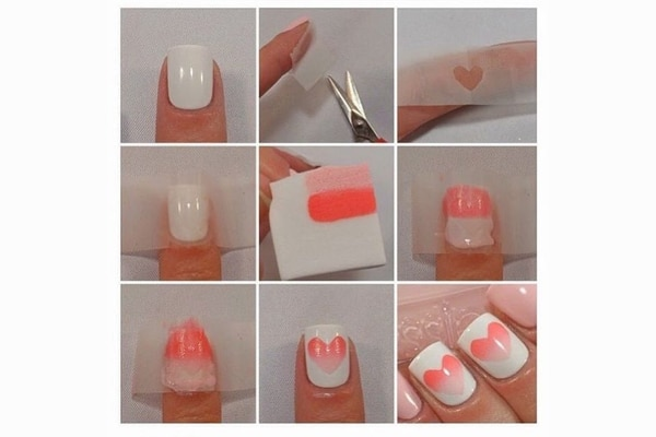 Cut out a piece of craft tape for a lovey, dovey mani