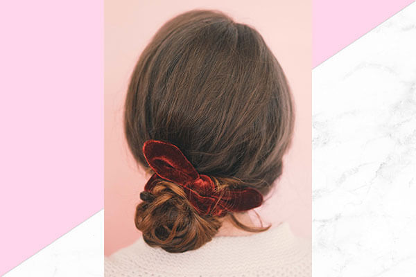 Ribbon bun hairstyle for this Valentines Day