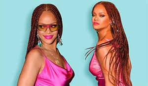 Rihanna sported an edgy hairstyle yet again... this time it's burgundy boxer braids!