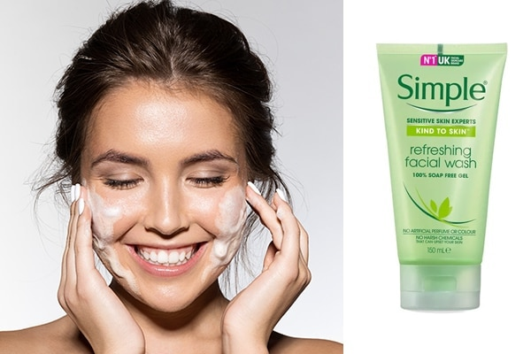 1.Simple Kind To Skin Refreshing Facial Wash