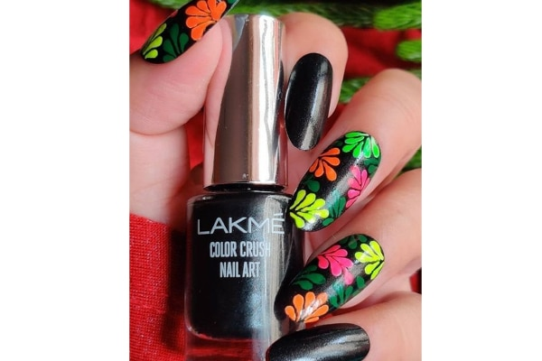 03. Shimmery black with neon flowers