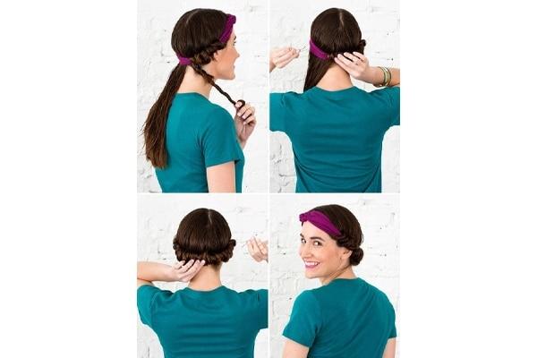 Headband roll of heatless curls