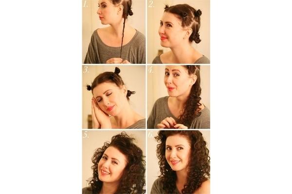 Bantu knot curls of heatless
