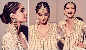 It shouldn't make sense, but does. Sonam Kapoor Ahuja's cornrow braids and maang tika