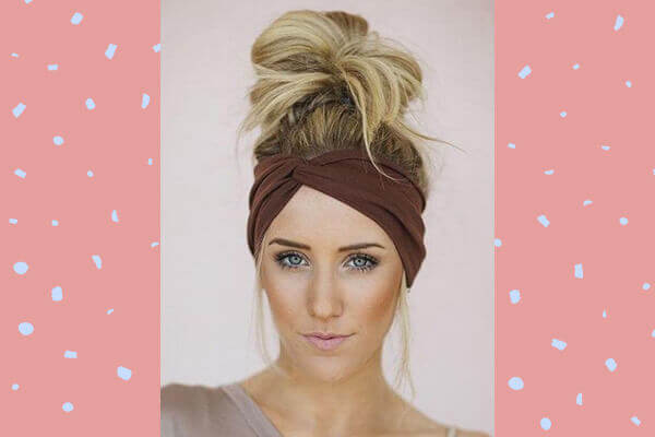 add a cloth headband to your messy top knots