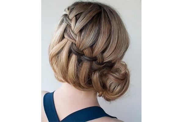 Waterfall French braid bun