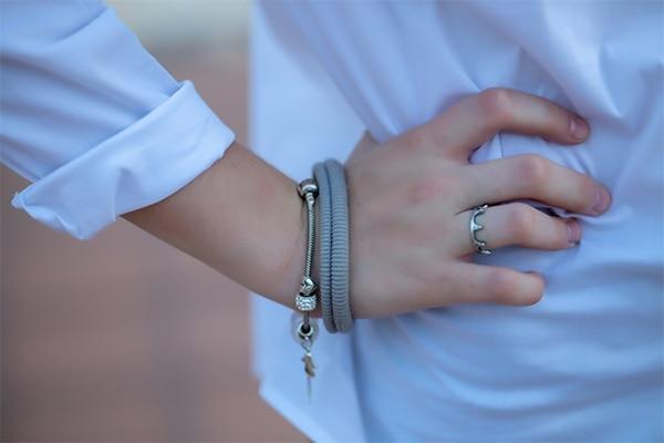 Hair ties around wrist