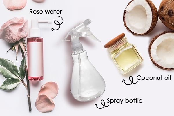 coconut oil rose water miracle diy hair mist