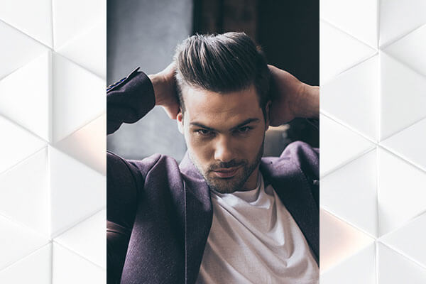 combed back pompadour quiff hairstyle