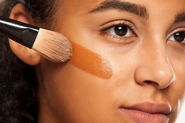When you use a flat foundation brush: