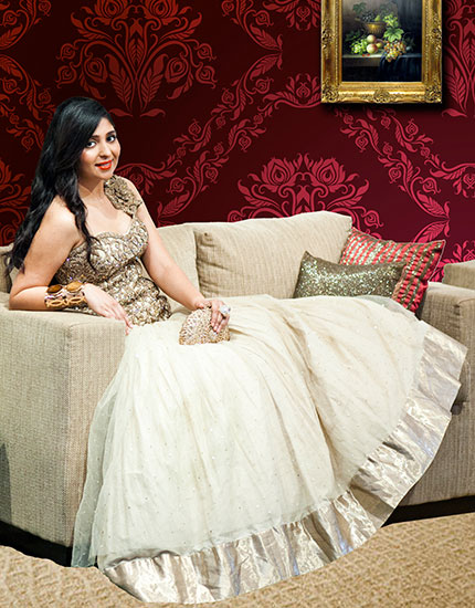 designer neelu oberoi styles bride to be reception outfit 430x550