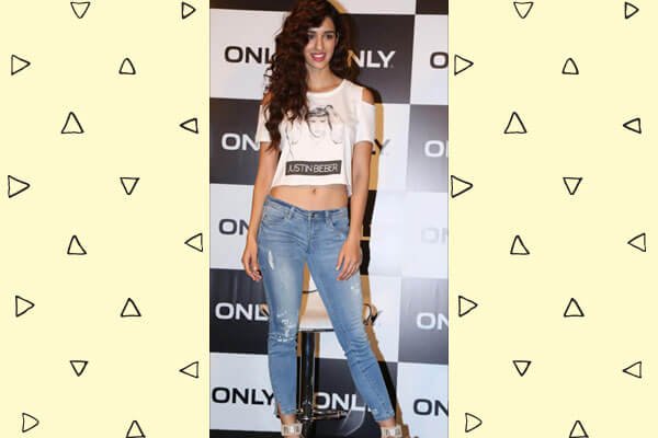 disha patani in cropped tee with denims