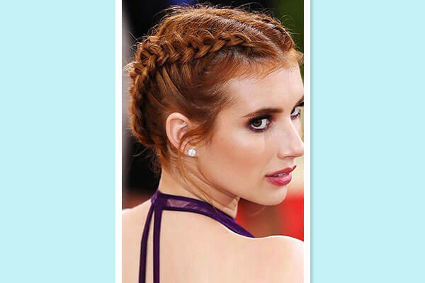 dual braided hairstyle on red carpet