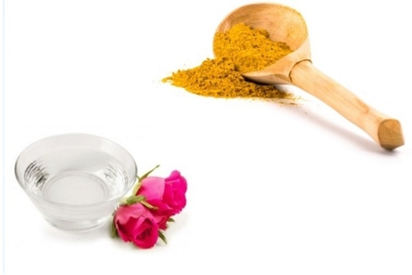 Rose water and turmeric
