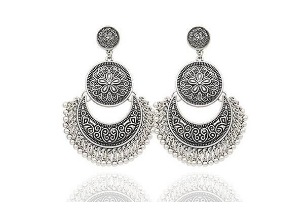 4. Ethnic Silver Jhumkas