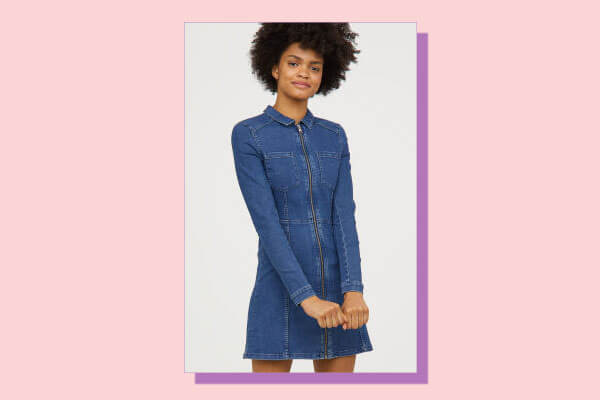 fitted denim dress from H and M India Online