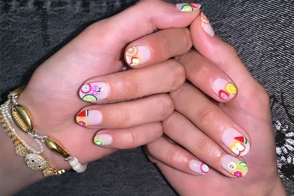gigi hadid fruit juice nails trend