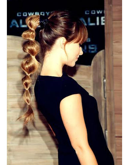 gym hairstyles bunched ponytail 430x550