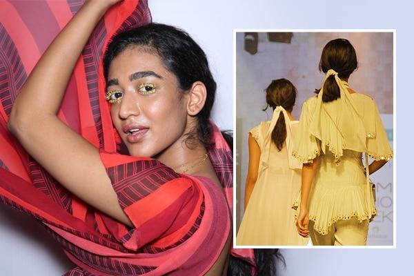 Ribbon ties and low ponytails at Arpita Mehta's