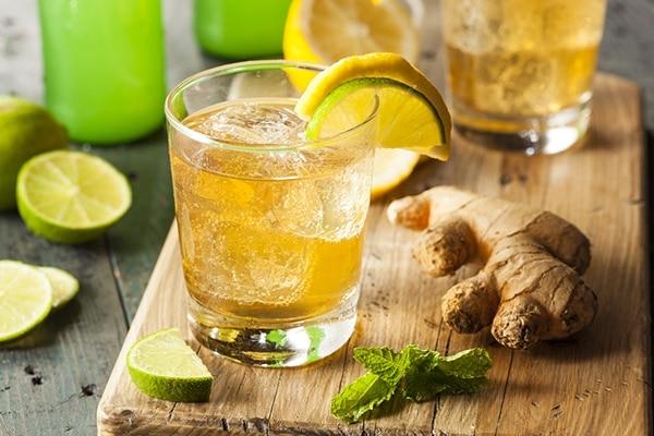Mint and ginger green tea lemonade