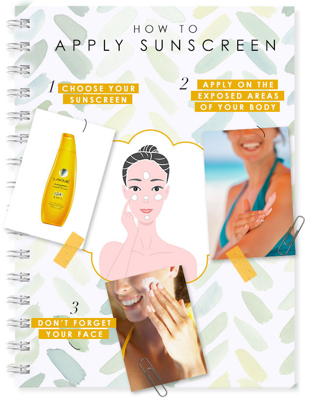how to apply sun screen