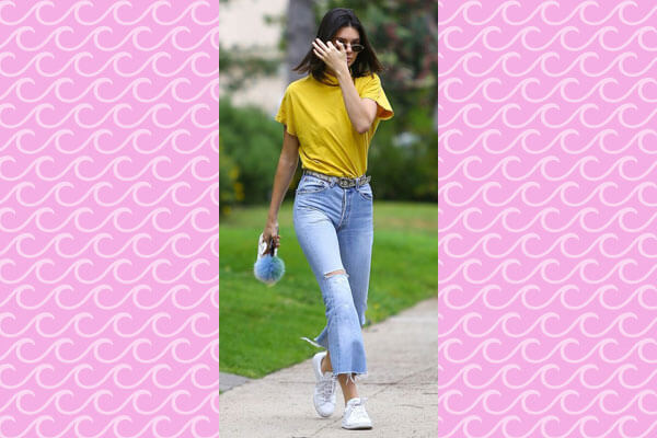 kendall jenner tee and cropped jeans look