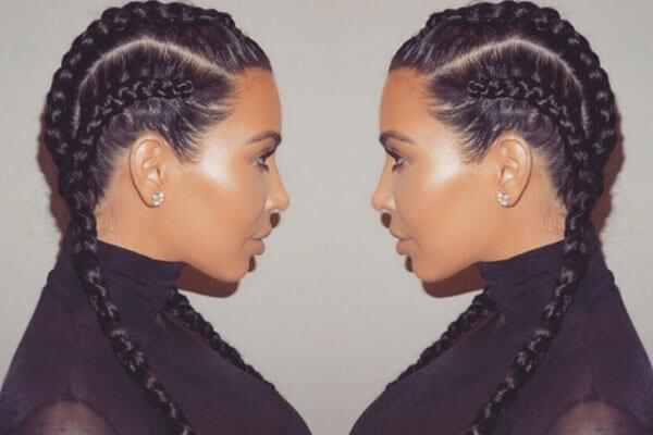 kim kardashian with double braid hairstyle inspo