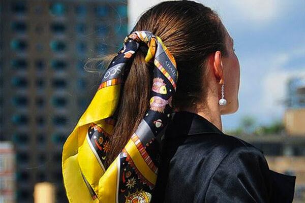 knot scarf around ponytail