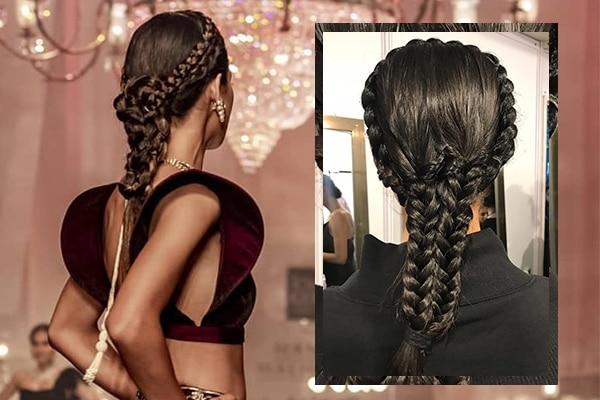 Hair—set in milkmaid braids