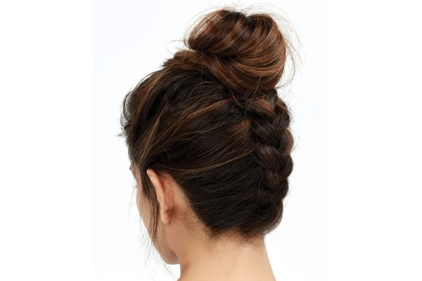 Reversed braided bun
