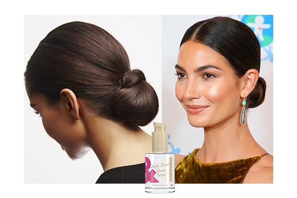 Center parted sleek bun