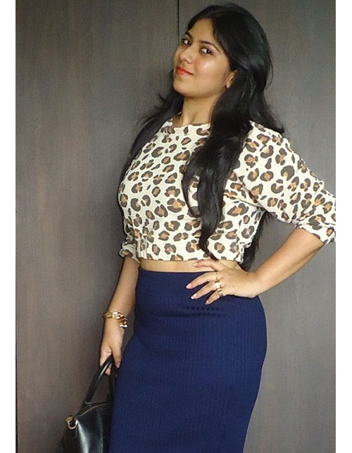 Outfit Of The Day—LEOPARD PRINT CROP TOP, BLUE PENCIL SKIRT