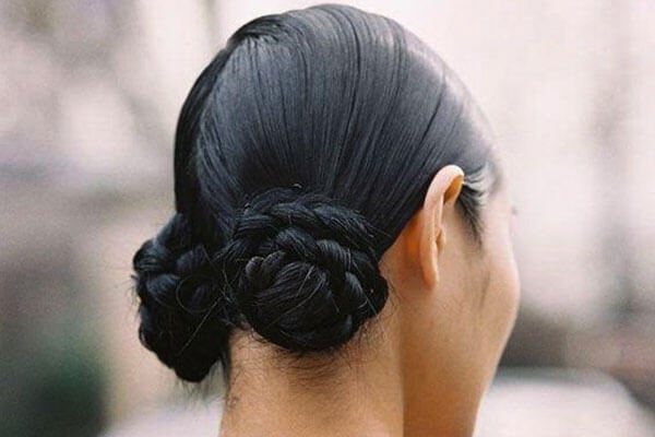 The sleek double braided buns