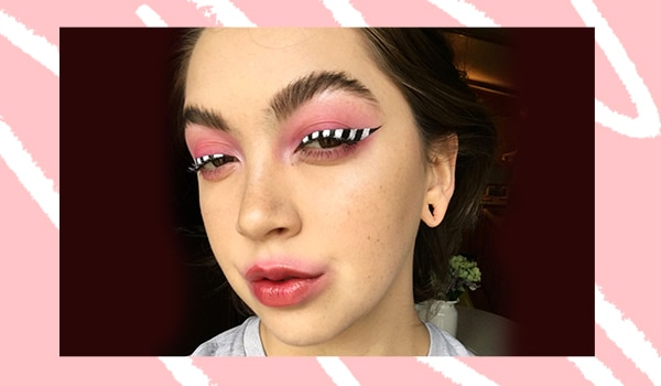 Ace the black and white striped eyeliner look in a few easy steps
