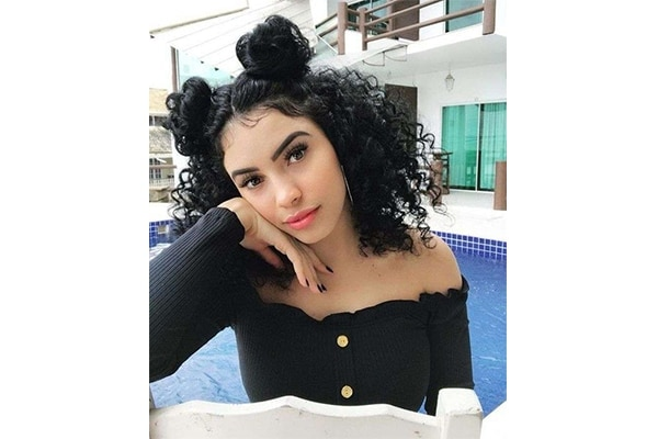Space buns hairstyles for short curly hair