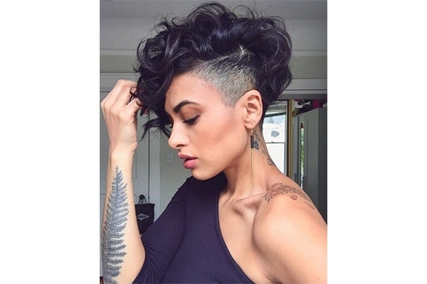 Undercut pixie hairstyles for short curly hair